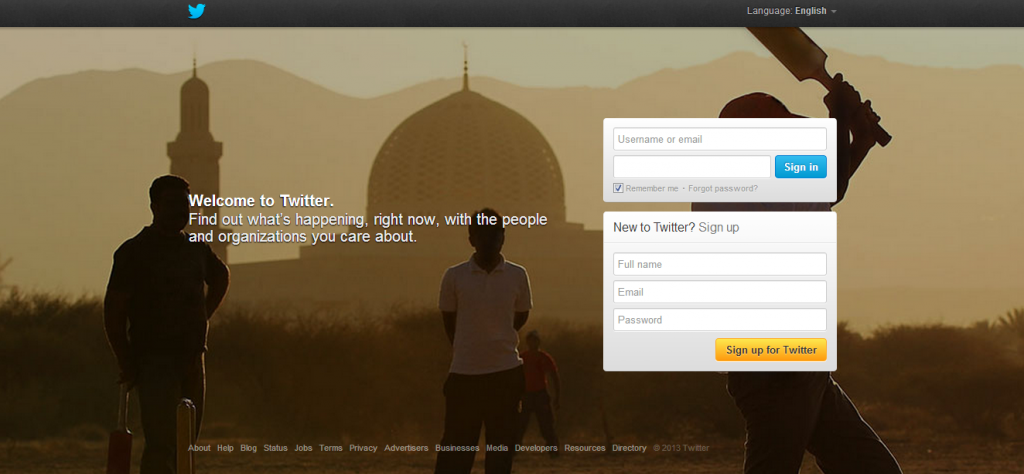 Twitter homepage - evolution of twitter