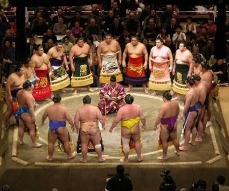 sumo ceremony in Japan