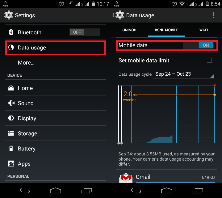 how do you check data usage on iphone how to turn on or enable mobile data in android spinfold 1349