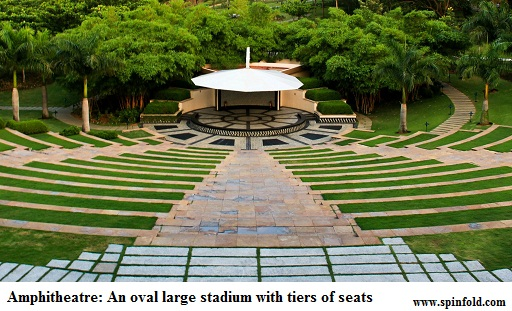 amphitheater and amphiteater meaning. A sloping gallery with seats for spectators.