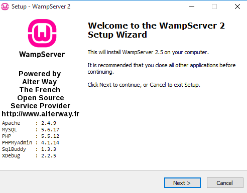 WampServer setup wizard