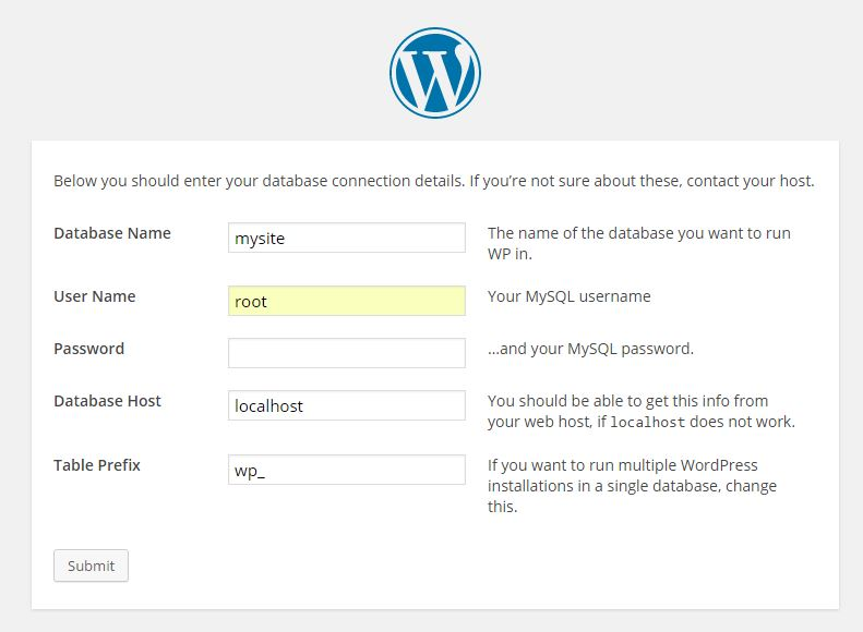 WordPress installation and database settings