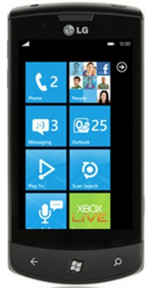 first windows phone from LG running on Windows Phone 7