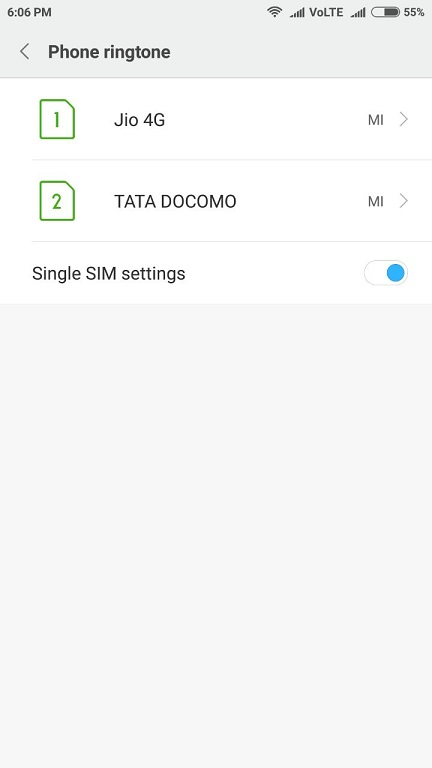 set different ringtone for each sim in mi phone